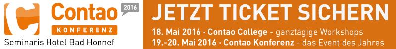 Ticket sichern f�r Contao-Konferenz 2016